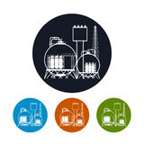 Icon of a chemical plant or refinery processing , Royalty Free Stock Photo