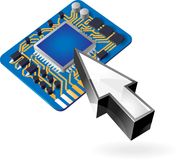 Icon of chipset and pointer Royalty Free Stock Photos