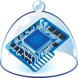 Icon of chipset under bell-glass Stock Photography