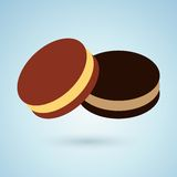 Icon of chocolate cookies with cream filling Royalty Free Stock Photography
