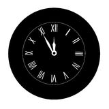 Icon Christmas black wall clock on a white background. Midnight. Royalty Free Stock Photography