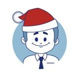 Icon with christmas character Santa. Royalty Free Stock Photos