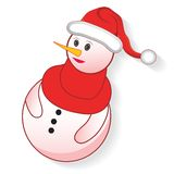 Icon christmas snowman. Icon christmas cute snowman, creative cartoon merry vector illustration. Element for design Stock Photo