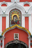 Icon on a church entrance Royalty Free Stock Images