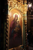 Icon in the church, the Virgin Mary holding baby Jesus Stock Images