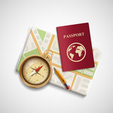 Icon city map, a compass and a passport. Trip and travel. Stock Stock Images