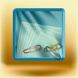 Icon with clips and paper Stock Photos