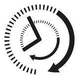 Icon clock hands in black and white. Sign of the time. Vector illustration of abstract clock. Dual dial on the watch Royalty Free Stock Images