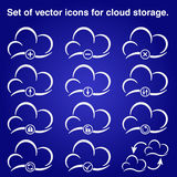 Icon Cloud. Blue background, shadow Royalty Free Stock Photo