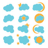 Icon cloud. Clouds, stars, moon, funny, icon, abstract, technology, unique, cloud icons Royalty Free Stock Images