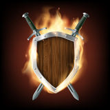 Icon coat of arms, a wooden shield with swords on fire. Stock ve Stock Photo