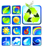 Icon collection. Nature icon collection for global warming campaign Royalty Free Stock Photos