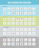 64 ICON COLLECTION FOR BUSINESS, ARTICLE, CONSTRUCTION, URBAN. Vector illustration of 64 flat colorful icons can be used in any website & mobile application Stock Photos