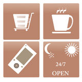 Icon collection cups, service 24/7, a cell phone a. Nd a cart for  design, vector Royalty Free Stock Photography