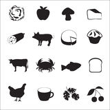Icon collection of different type of food Royalty Free Stock Photography
