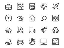 Vector icon set of value investment in line style. Icon collection includes: investing capital, real estate, business, market timing, technology, education Royalty Free Stock Photo