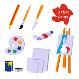 Icon collection. Tools of the artist Royalty Free Stock Image