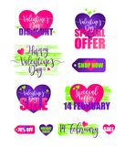 Icon collection for valentine`s day sales, set of stickers, templates with lettering. Vector illustration, element for royalty free stock images