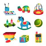 Collection of various children s toys. Ball, rocking horse, ABC cube, bead maze, turtle with numbers, paints with. Icon collection of various children s toys Stock Image