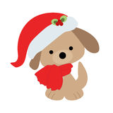 Icon color baby cute Christmas puppy on a white background. Royalty Free Stock Image