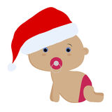 Icon color cute baby girl crawls in Santa hat Royalty Free Stock Images