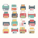 Icon Color Printer set Royalty Free Stock Photography