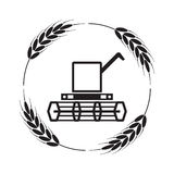 Icon of combine harvester and wheat ears, vector. Icon of combine harvester and wheat ears, black and white agricultural background, machinery farm harvest Stock Photo