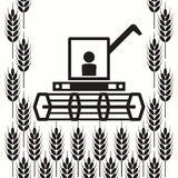 Icon of combine harvester and wheat ears, vector. Icon of combine harvester and wheat ears, black and white agricultural background, machinery farm harvest Royalty Free Stock Photo