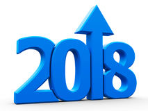 2018 icon compact blue with arrow. Blue 2018 with arrow up isolated on white background, represents growth in the new year 2018, three-dimensional rendering, 3D Royalty Free Stock Photography