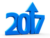 2017 icon compact blue with arrow. Blue 2017 with arrow up on white background, represents growth in the new year 2017, three-dimensional rendering, 3D Royalty Free Illustration