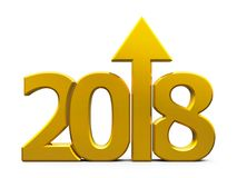 2018 icon compact gold with arrow. Gold 2018 with arrow up isolated on white background, represents growth in the new year 2018, three-dimensional rendering, 3D Stock Image