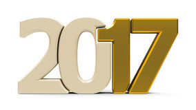 2017 icon compact gold. Gold 2017 symbol, icons or button on white background, represents the new year 2017, three-dimensional rendering, 3D illustration Royalty Free Illustration