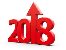 2018 icon compact red with arrow. Red 2018 with arrow up isolated on white background, represents growth in the new year 2018, three-dimensional rendering, 3D Stock Image