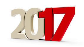 2017 icon compact red #2. Red 2017 symbol, icons or button isolated on white background, represents the new year 2017, three-dimensional rendering, 3D Vector Illustration