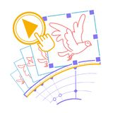 Icon concept animation. Concept animation, hand drawn video  in the form of the program interface elements and the bird animation with the download button. Icon Stock Image