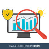 Icon concept data protection. And safe work in internet. Computer monitor with data on screen and search magnifier and security antivirus  shield isolated on Stock Image