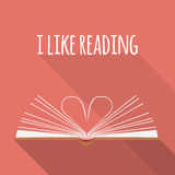 Icon concept. I like reading. Open book pages as heart. Stock Image