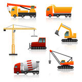 Icon construction equipment  crane, scoop, mixer with reflectio Royalty Free Stock Photos