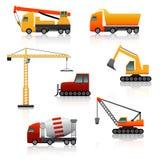Icon construction equipment  crane, scoop, mixer with reflectio Royalty Free Stock Photos