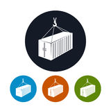 Icon container with crane , vector illustration Stock Photo