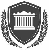 Icon courthouse on shield . laurel wreath .protection concept. Stock Image