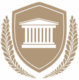 Icon courthouse on shield .protection concept. Stock Photo