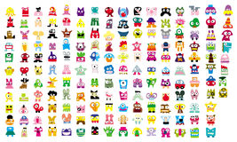Icon Creatures. A group of  digitally created cute scary monsters Stock Image