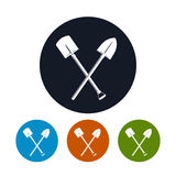 Icon of a Crossed Shovels Stock Photo