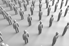 Icon Crowd. 3D Illustration. Anonymous icon crowd Royalty Free Stock Photo
