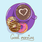 Icon with cup of coffee and donuts Royalty Free Stock Images