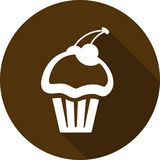Icon cupcake with cherry with long shadow. Muffin icon royalty free stock photography