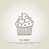 Icon  cupcake. Icon cupcake. Line style. Flyer or postcard. Vector illustration Royalty Free Stock Photography