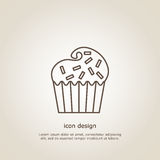 Icon  cupcake. Icon cupcake. Line style. Flyer or postcard. Vector illustration Stock Photography