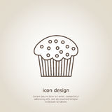 Icon  cupcake. Icon cupcake. Line style. Flyer or postcard. Vector illustration Royalty Free Stock Photos